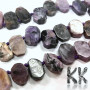 Tumbled beads in the shape of aflat oval nugget from one of the rarest minerals - natural charoite of dimensions 9-12 x 12.5-14 x 3-4 mm with a hole for a thread with a diameter of 1 mm. The beads are absolutely natural without any dye. Country of origin: Russia THE PRICE IS FOR 1 PCS.