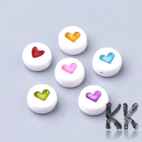 Plastic beads with hearts - white lentils - Ø 7 x 4 mm - quantity 10 g (approx. 75 pcs)