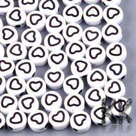 Plastic beads with black hearts - white lentils - Ø 7 x 4 mm