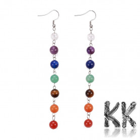 Chakra earrings made of minerals with 304 stainless steel components - earrings length 11.7 cm