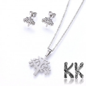 Jewelry set - chain with tree pendant + tree-shaped earrings made of 304 stainless steel