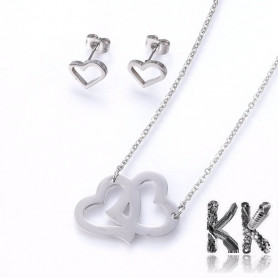 Jewelry set - chain with double heart pendant + heart-shaped earrings made of 304 stainless steel