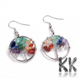 304 stainless steel earrings with a chakra tree of life - length approx. 56.5 mm