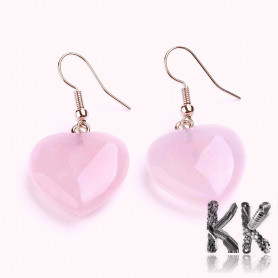 Brass earrings with rose hearts - length approx. 40 mm