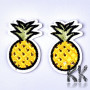 Iron-on picture embroidery in the shape of a pineapple with dimensions 42 x 26 x 1.5 mm, suitable for minor repairs of various clothes. The embroidery is covered on the back with a layer of wax, which melts when heated from the iron and firmly bonds with the fabric. The embroidery can then only be pulled off the fabric with great force, or reheated and the wax melted.THE PRICE IS FOR 1 PCS.