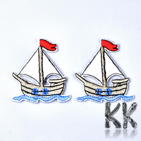 Iron-on picture embroidery - Boat - 55.5 x 53 x 1.5 mm