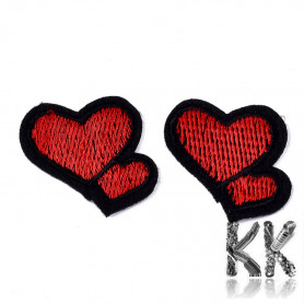 Iron-on picture embroidery - double heart - 30 x 33 x 1 mm