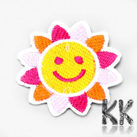 Iron-on picture embroidery -Sun- 51.5 x 54 x 1.5 mm