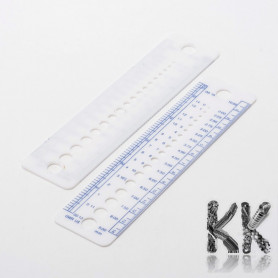 Plastic ruler with gauges for beads diameter - 160 x 40 x 1 mm