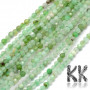Tumbled faceted round beads made of natural mineral chrysoprase with a diameter of 3 mm and a hole for a thread with a diameter of 0.5 mm. The beads are absolutely natural without any dye. Country of origin: Brazil THE PRICE IS FOR 1 PCS.