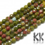 Tumbled round beads made of natural mineral unakite with a diameter of 3-3.5 mm and a hole for a thread with a diameter of 0.3 mm. The beads are absolutely natural without any dye. Country of origin Brazil THE PRICE IS FOR 1 PCS.