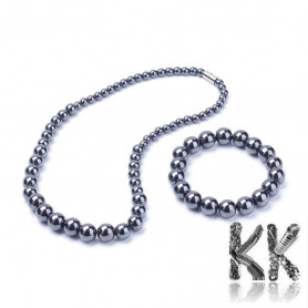 Jewelry set made of magnetic synthetic hematite - Necklace and bracelet