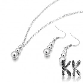 Jewelry set made of 304 stainless steel - necklace and earrings with a snowman