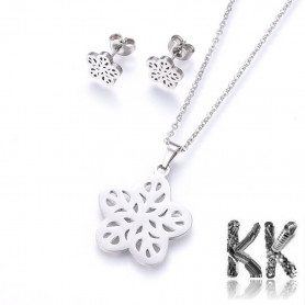 Jewelry set made of 304 stainless steel - necklace and earrings with a flower