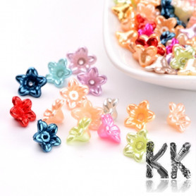 Acrylic pearls - flowers with ABS surface - Ø 10 x 10.5 x 5 mm - quantity 10 g (approx. 106 pcs)