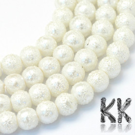 Frosted glass waxed pearls - Ø 6 mm - beads
