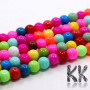 Glass opaque colored beads with a diameter of 8 mm and a hole for a thread with a diameter of 1 mm. The color of the beads is baked for greater abrasion resistance. The beads are sold in whole strings, which contain a random mix of colors of these beads. There are about 53 pieces of beads on one string. THE PRICE IS FOR 1 STRAND / CCA 53 PCS.