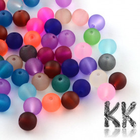 Frosted glass beads - colored balls - Ø 6 mm - 25 g (approx. 85 pcs)
