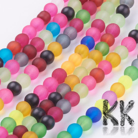 Frosted glass beads - colored balls - Ø 4 mm - cord (approx. 105 pcs)