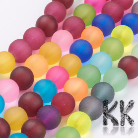 Frosted glass beads - colored balls - Ø 10 mm - cord (approx. 39 pcs)