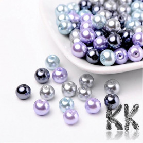 Glass waxed pearls - gray-violet mix - Ø 8 mm - advantageous package of 100 pcs