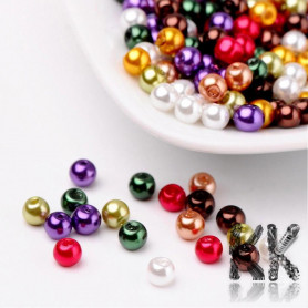 Glass waxed pearls - brightly colored mix - Ø 4 mm - advantageous package 400 pcs