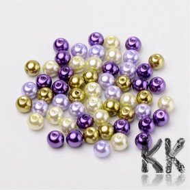 Glass waxed pearls - gold-violet mix - Ø 6 mm - advantageous package of 200 pcs