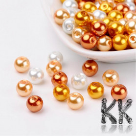 Glass waxed pearls - orange-white mix - Ø 8 mm - advantageous package of 100 pcs