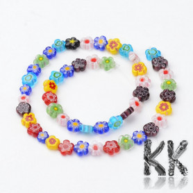 Glass coiled pearls - Millefiori flower - 8-9 x 3.5-4 mm - cord (approx. 48 pcs)