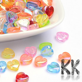 Acrylic beads - transparent heart with AB effect - 8 x 8 x 3 mm - quantity 10 g (approx. 54 pcs)