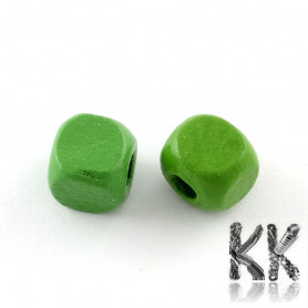 Wooden bead - colored cube - 8 mm - advantageous package of 100 pcs