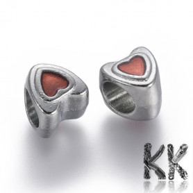 Zinc alloy bead with wide thread - heart with proof - 9 x 8.5 x 9 mm