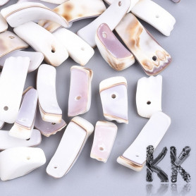 Natural mother-of-pearl fragments of tiger kauri shells - 14-22 x 5-10 x 2-9 mm - weight 1 g (approx. 1 cm)