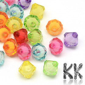 Acrylic beads - cut double cones with white center - Ø 10 x 10 mm - quantity 10 g (approx. 20 pcs)