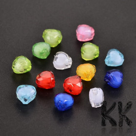 Acrylic beads - cut hearts with white center - 7 x 8 x 5 mm - quantity 10 g (approx. 60 pcs)