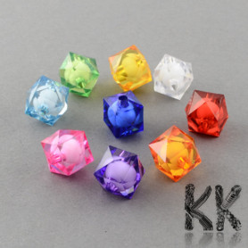 Acrylic beads - cut cubes with a white center - 10 mm - quantity 10 g (approx. 21 pcs)