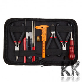 Extended jewelery set of aids in a briefcase