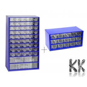 Set of metal organizers with 48 + 15 drawers - 155 x 306 x 551 mm + 155 x 306 x 147 mm