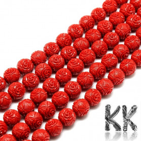 Synthetic red coral - Ø 8 mm - balls with carved rose flowers