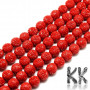Tumbled round beads with carved rose flowers made of synthetic red coral with a diameter of 8 mm with a hole for a thread with a diameter of 1 mm. Country of origin China THE PRICE IS FOR 1 PCS.