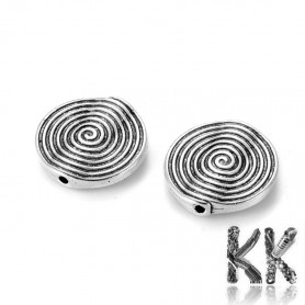 Separating bead made of zinc alloy - flat circle with spiral - Ø 18 x 3.2 mm