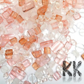Czech glass mix of pressed beads - pink and white - quantity 50 g