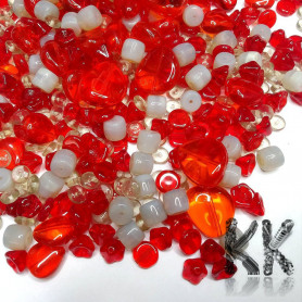 Czech glass mix of pressed beads - red-gray - quantity 50 g