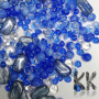 Czech pressed glass beads in various shapes, sizes, shades of blue, clear and gray and with holes for a thread with a diameter of about 1 mm. The beads are sold in the form of a random mix, so each package of beads may differ slightly in composition. The illustrative photo captures all the possible shapes, sizes and colors of the beads that may appear in the mix.THE PRICE IS FOR 50 g