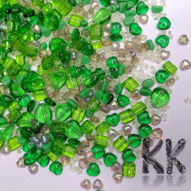 Czech glass mix of pressed beads - green - quantity 50 g