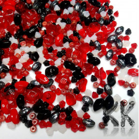 Czech glass mix of pressed beads - red-black - quantity 50 g
