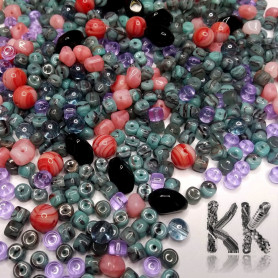 Czech glass mix of pressed beads - multicolored - amount 50 g
