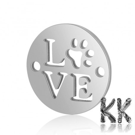 316Ti Stainless steel intermediate link - circle with LOVE inscription and paw - 12 x 12 x 0.8 mm