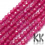 Tumbled round faceted beads made of synthetic ruby with a diameter of 2 mm with a hole for a thread with a diameter of 0.5 mm. The beads have a beautifully rich color typical of ruby. Country of origin: China THE PRICE IS FOR 1 PCS.