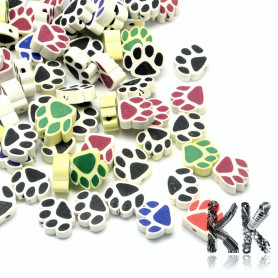 Paw made of polymer material - random mix of colors - Ø 13 - 16 x 12 - 15 x 5 - 8 mm